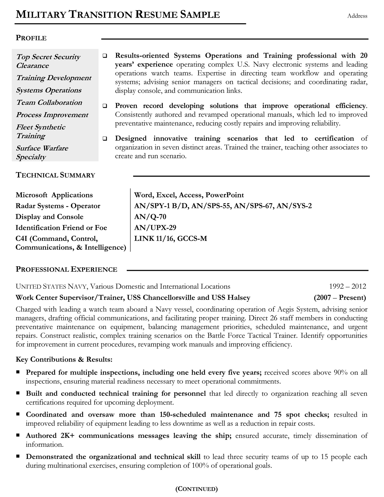 military resume samples examples writers experience on example mtr sample massage Resume Military Experience On Resume Example