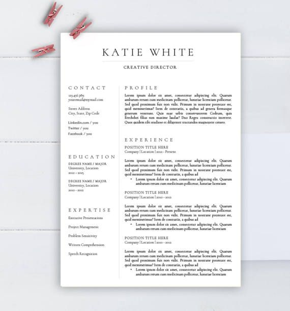 minimalist resume template cv for word two professional medical bookkeeping skills led Resume Minimalist Resume Template Word