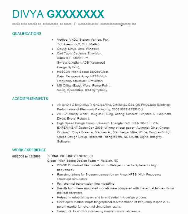 mixed signal engineer resume example instruments integrity order picker summary pre Resume Signal Integrity Resume