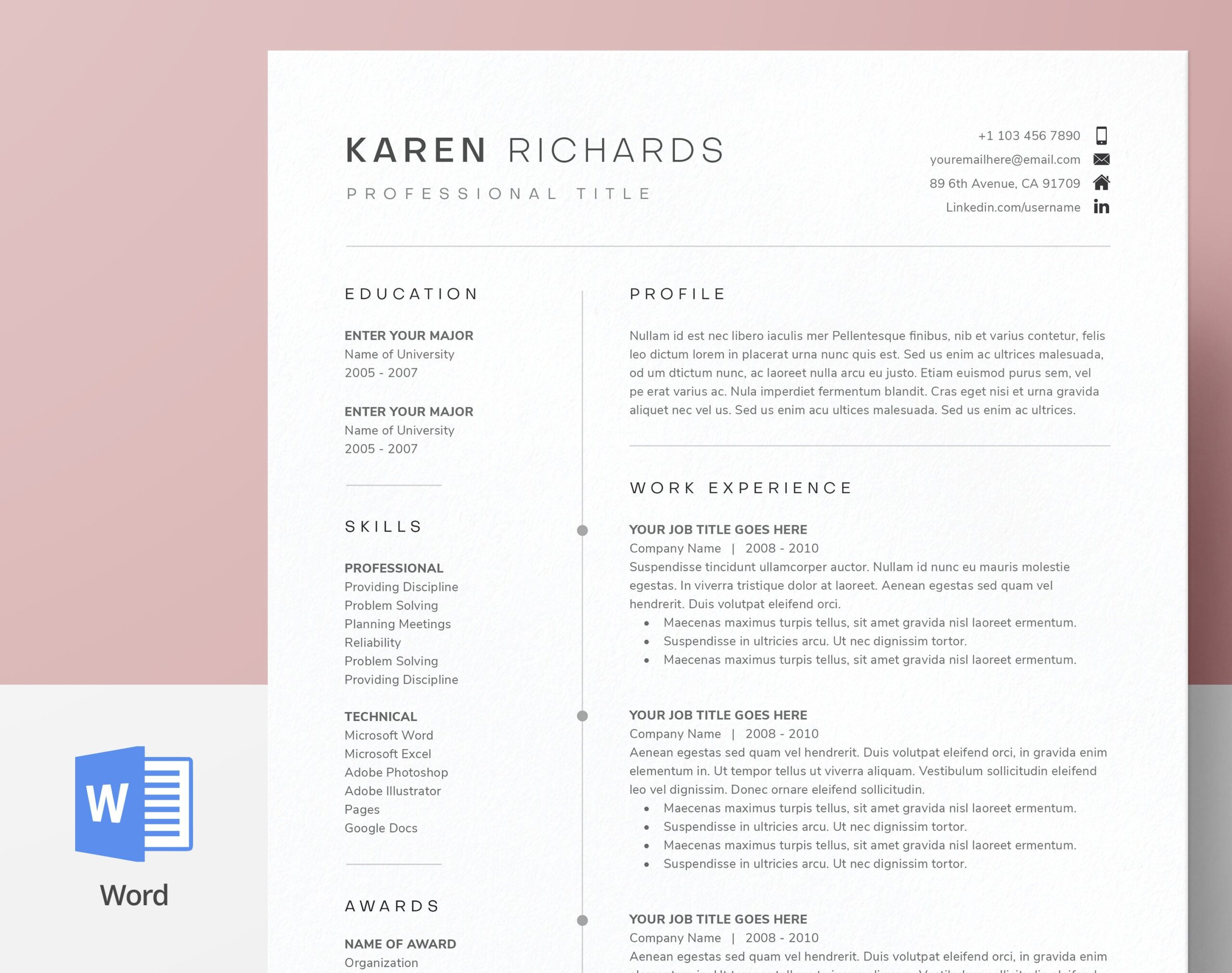 modern clean one resume template cv cover etsy in certifications on director of Resume One Page Resume Template