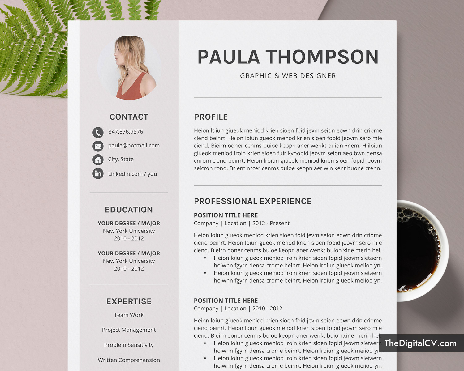 modern cv template for microsoft word simple design clean resume creative professional Resume Resume Templates 2020 Word