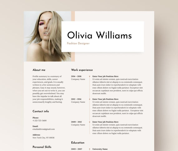 modern cv template for word fashion designer with etsy creative resume il 570xn e3qb Resume Creative Resume For Fashion Designer