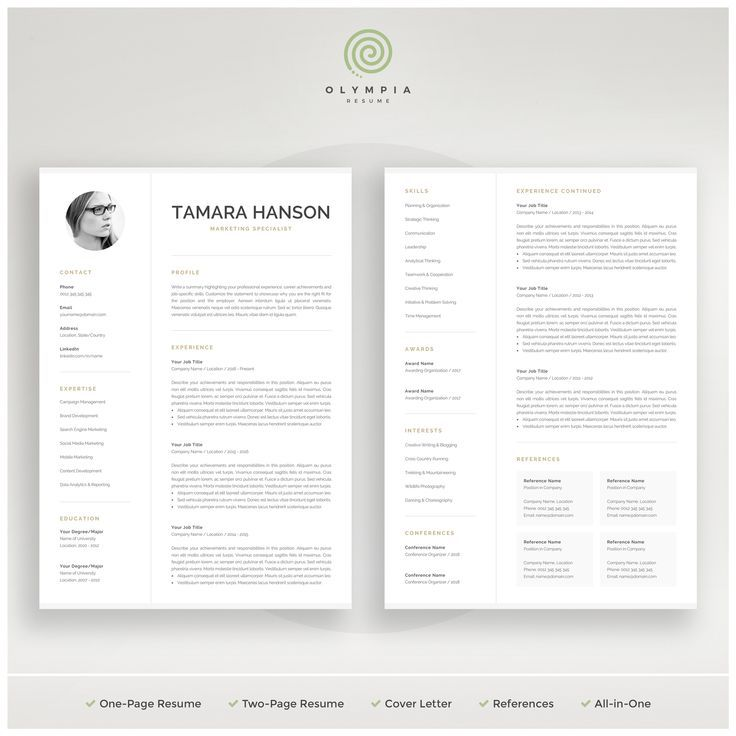 modern cv template with photo resume professional for word mac marketing instant tamara Resume One Page Resume Vs Two Page