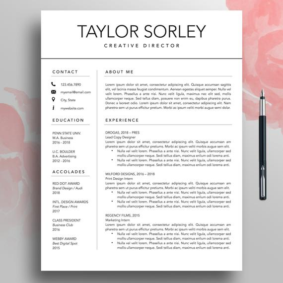 modern resume cv template minimalist simple etsy word il 570xn gy0d theatre doing for Resume Minimalist Resume Template Word