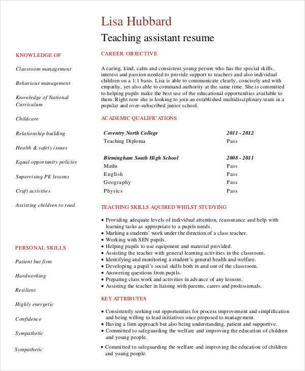 modern teacher resume templates pdf free premium objective for assistant preschool with Resume Objective For Resume For Teacher Assistant