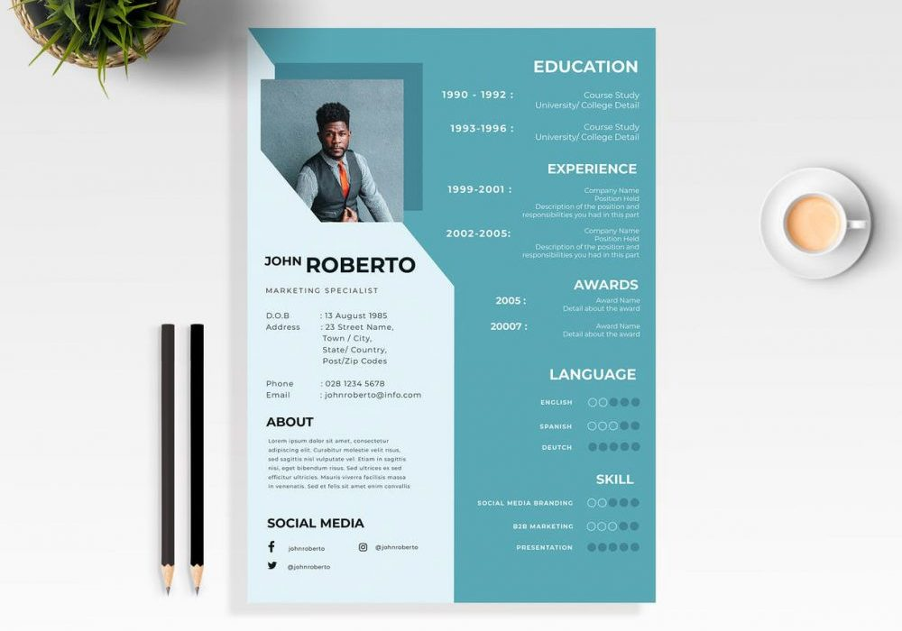modern word resume template free maxresumes with 1000x700 airport ground staff cost of Resume Resume Template With Picture Free Download