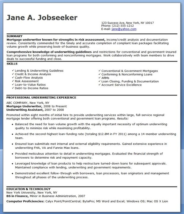 mortgage underwriter resume examples downloads underwriting engineering skills bloomberg Resume Mortgage Underwriter Resume Skills