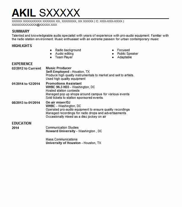 music producer resume example art resumes livecareer independent swiss format leadership Resume Independent Music Producer Resume