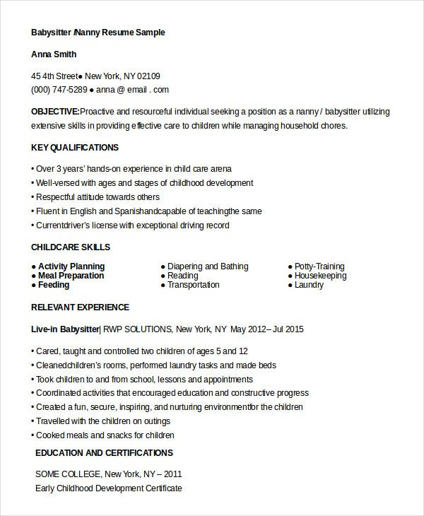 nanny resume templates pdf free premium professional examples for babysitter another word Resume Professional Nanny Resume Examples
