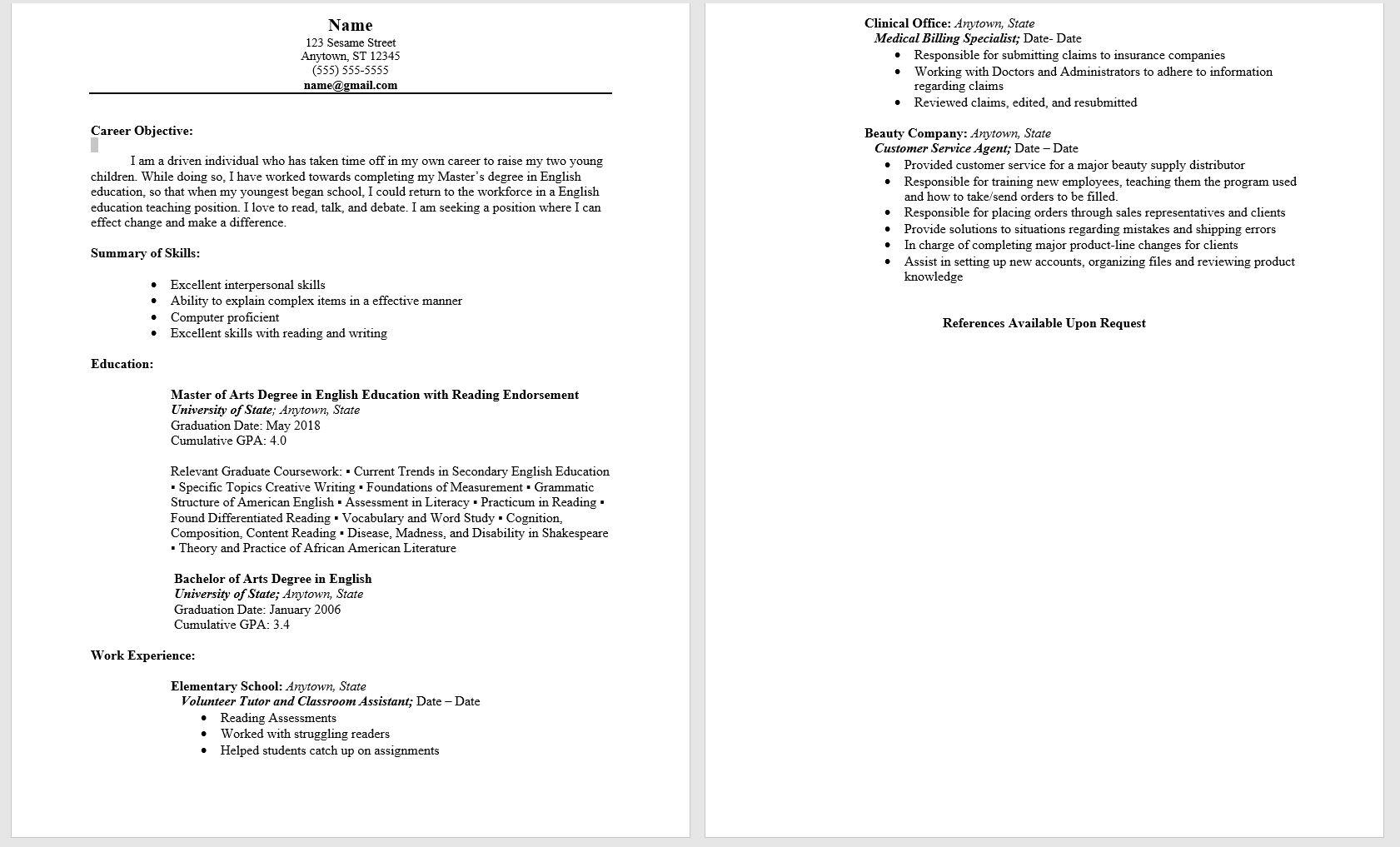 need help with resume have been stay at home mom for the past ten years looking to obtain Resume Resume Out Of Work For Years