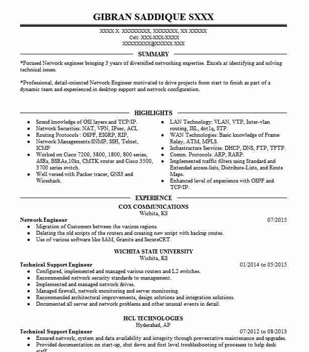 network engineer resume example technical resumes livecareer professional summary for Resume Professional Summary For Engineering Resume