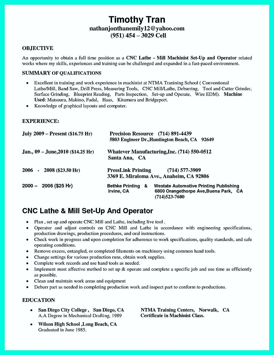 nice writing your qualifications in cnc machinist resume must examples job samples Resume Conventional Machinist Resume