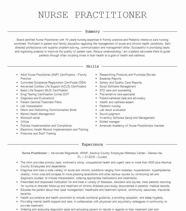 nurse practitioner resume example pain management center of meridian sample without Resume Sample Nurse Practitioner Resume
