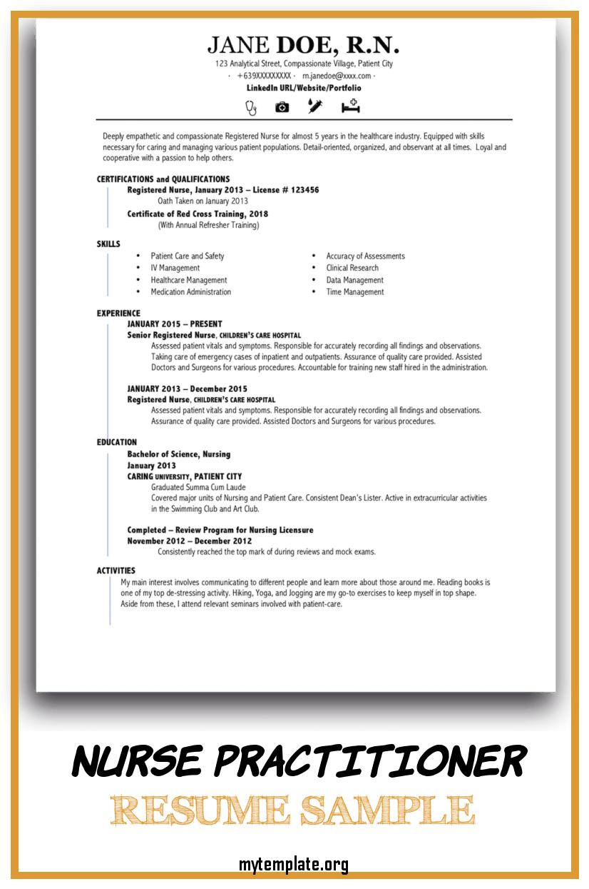nurse practitioner resume sample free templates of pin for freshers looking the first job Resume Sample Nurse Practitioner Resume