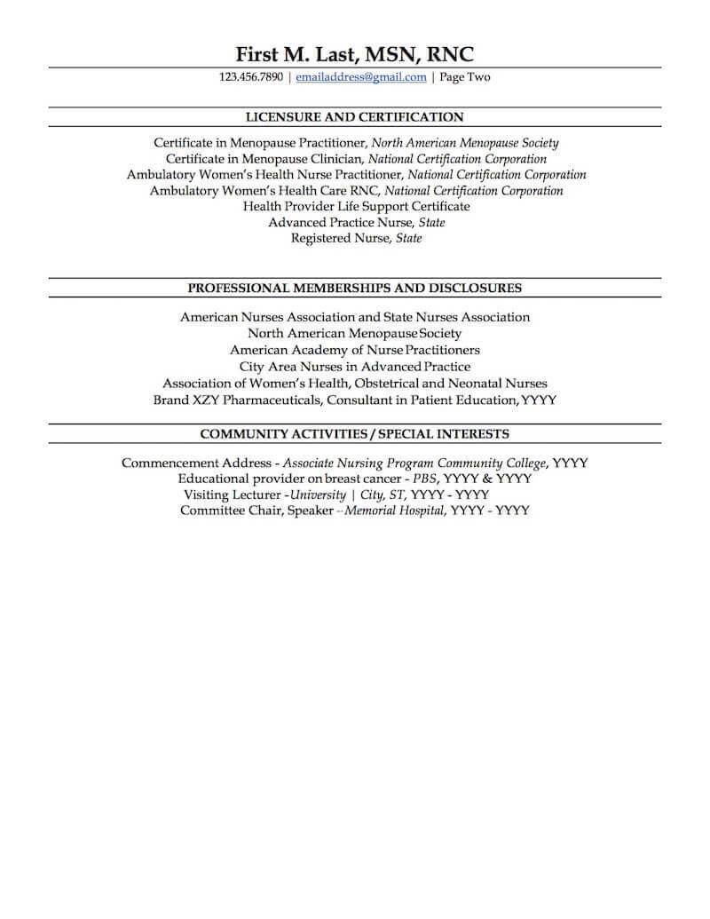 nurse practitioner resume sample professional examples topresume page2 best biotechnology Resume Sample Nurse Practitioner Resume
