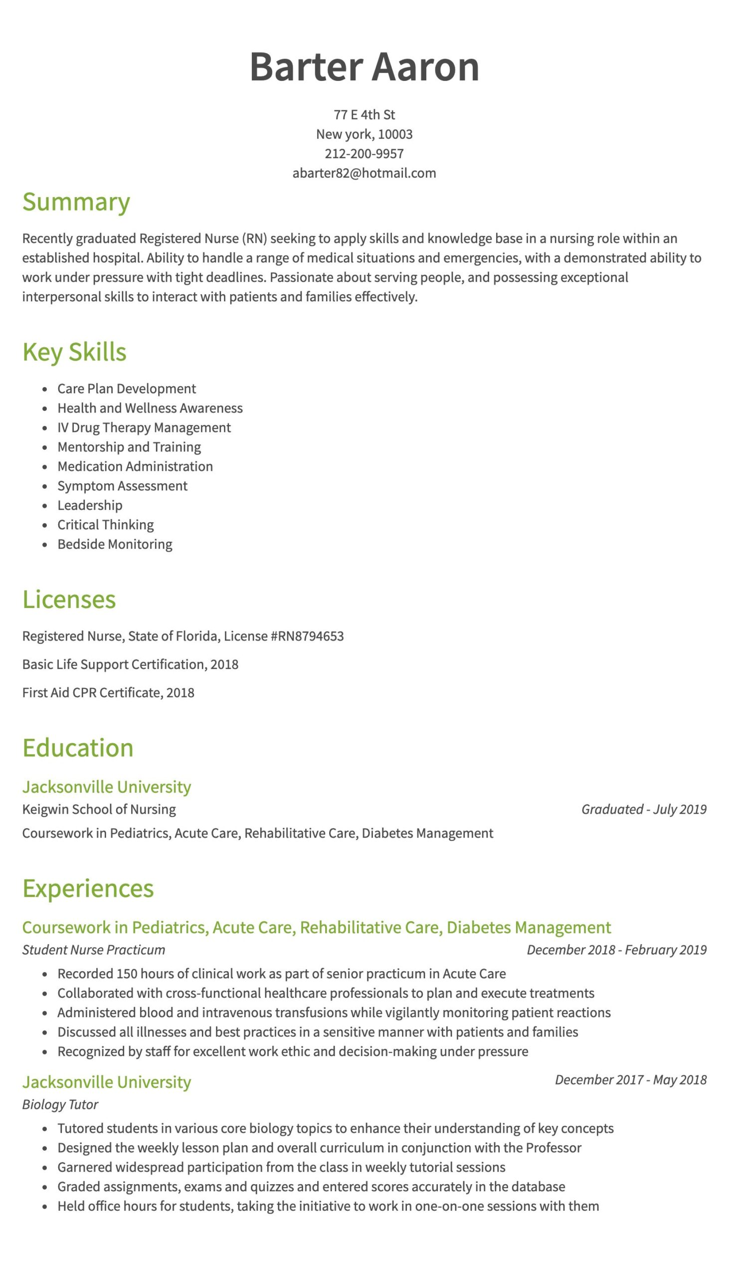 nursing resume examples samples written by rn managers new graduate nurse years of exp Resume New Graduate Nurse Resume Examples