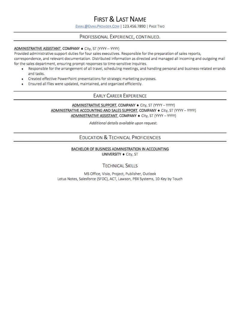 office administrative assistant resume sample professional examples topresume page2 non Resume Assistant Resume Sample