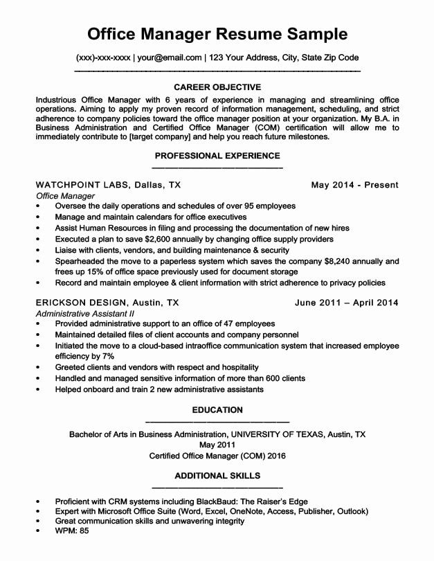office administrator resume examples fresh manager sample in job samples business Resume Administrative Manager Resume