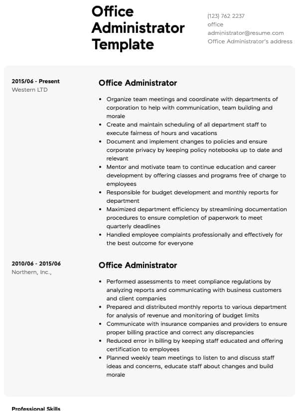 office administrator resume samples all experience levels duties for server description Resume Office Administrator Duties For Resume