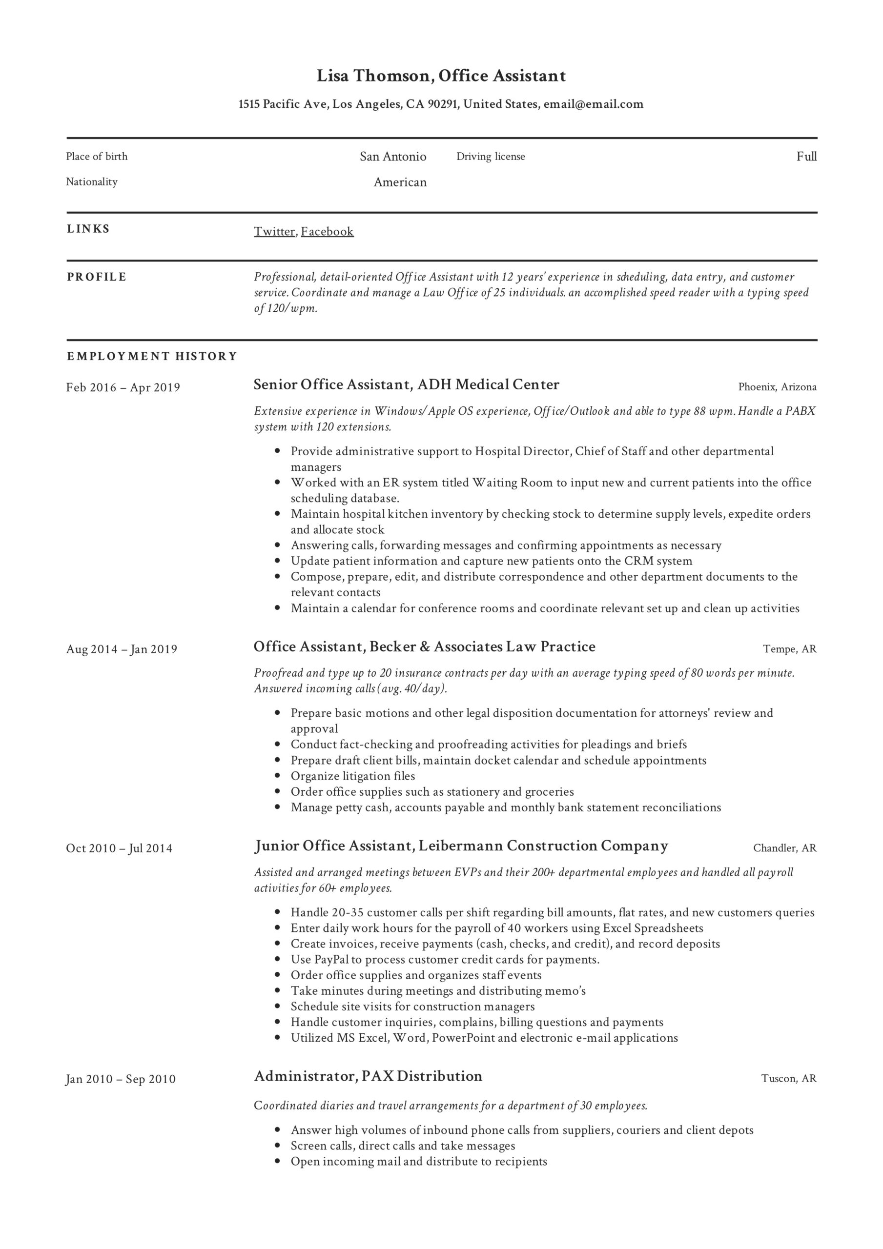 office assistant resume writing guide templates medical example lisa thomson length Resume Medical Office Assistant Resume Example