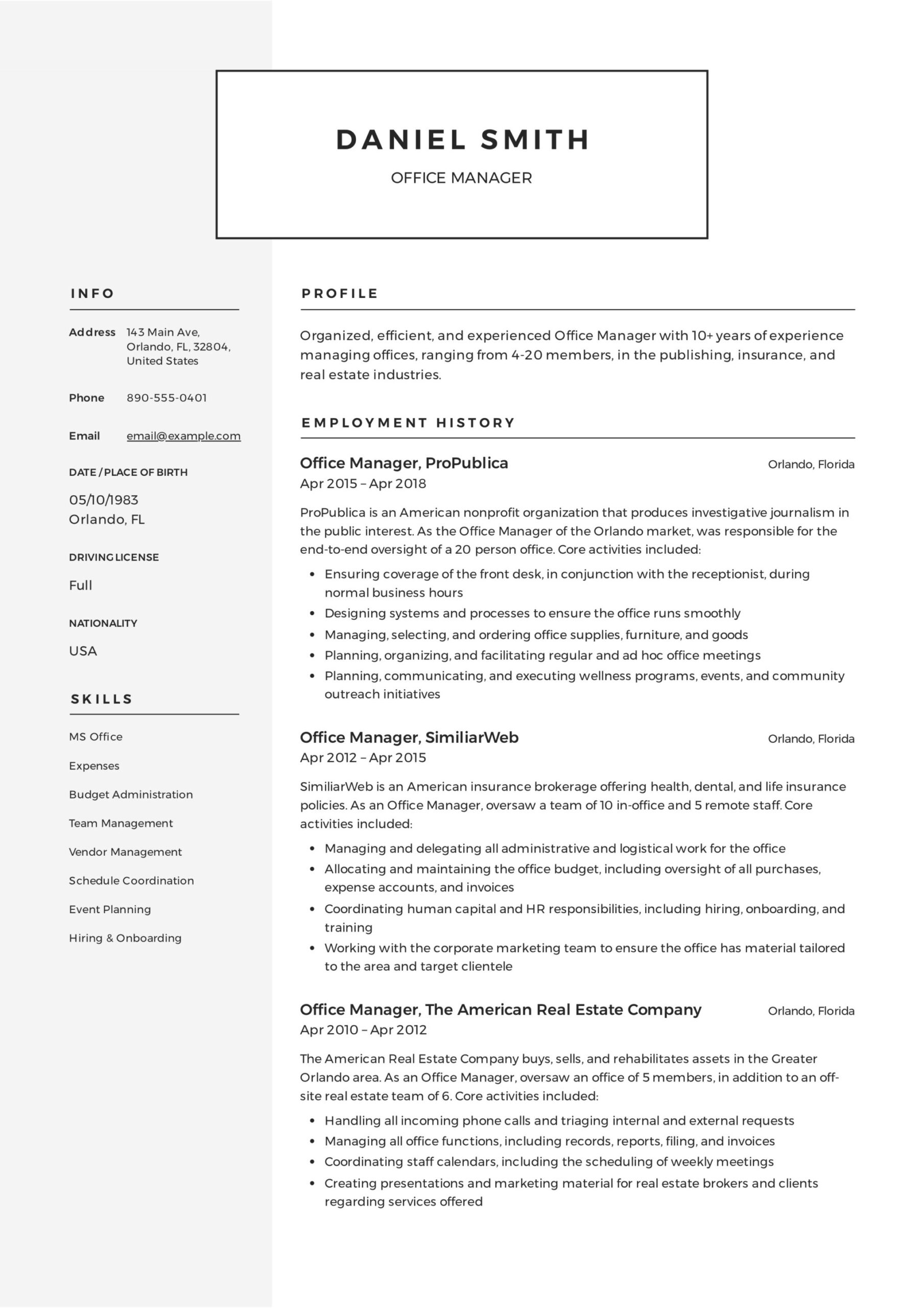 office manager resume guide samples pdf best sample job education examples reporter Resume Best Office Manager Resume