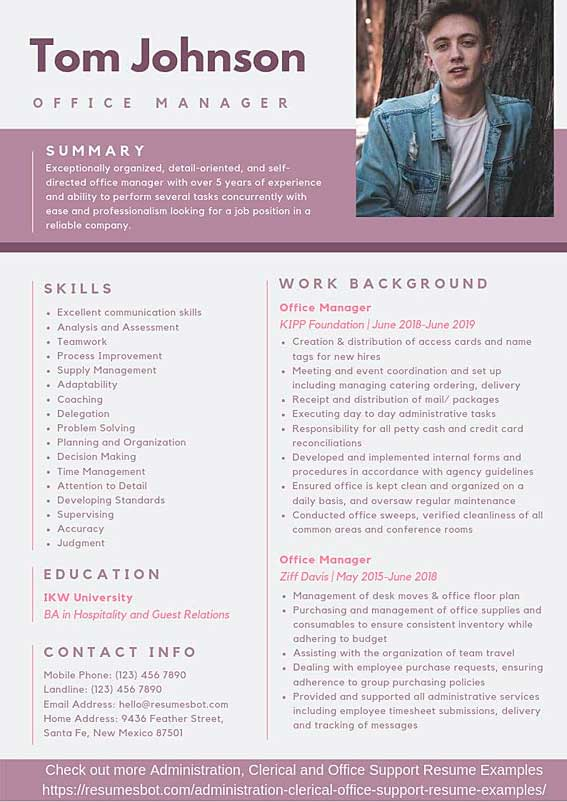 office manager resume samples templates pdf resumes bot administrative example music for Resume Administrative Manager Resume