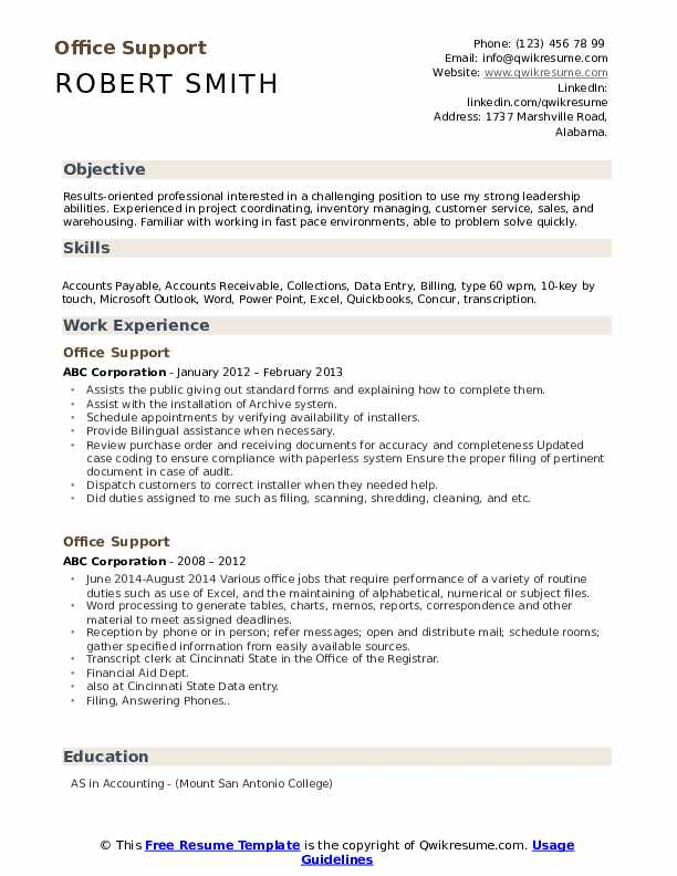 office support resume samples qwikresume caljobs building template pdf cleaning Resume Caljobs Resume Building Template