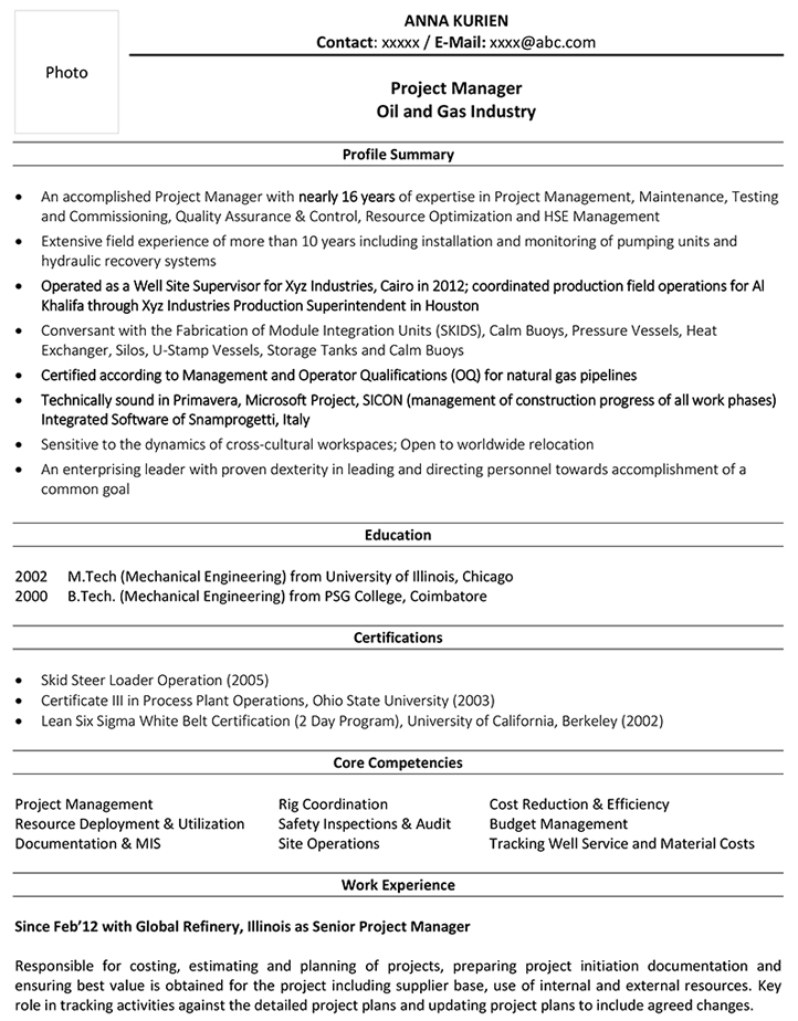 oil and gas cv format resume sample template rig project manager headline for mba Resume Oil Rig Resume Template