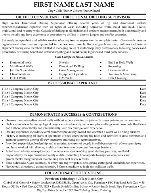 oilfield consultant resume sample template oil rig professional directional drilling Resume Oil Rig Resume Template