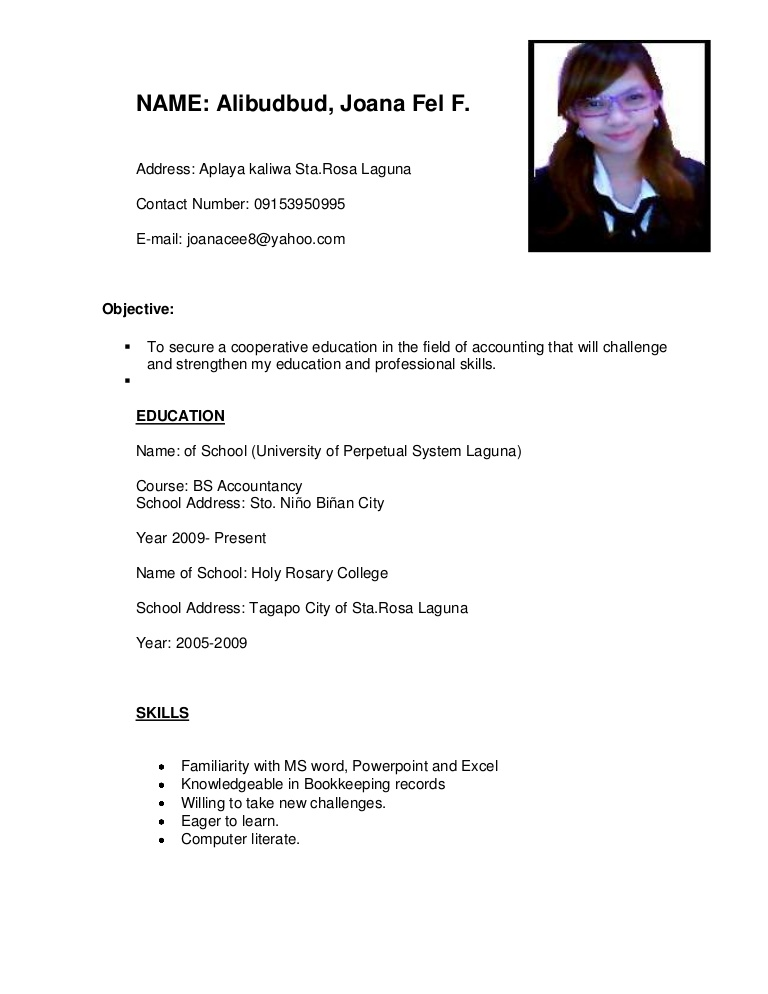 ojt resume for accountancy students objectives accounting cv phpapp02 thumbnail nursing Resume Ojt Resume Objectives For Accounting Students