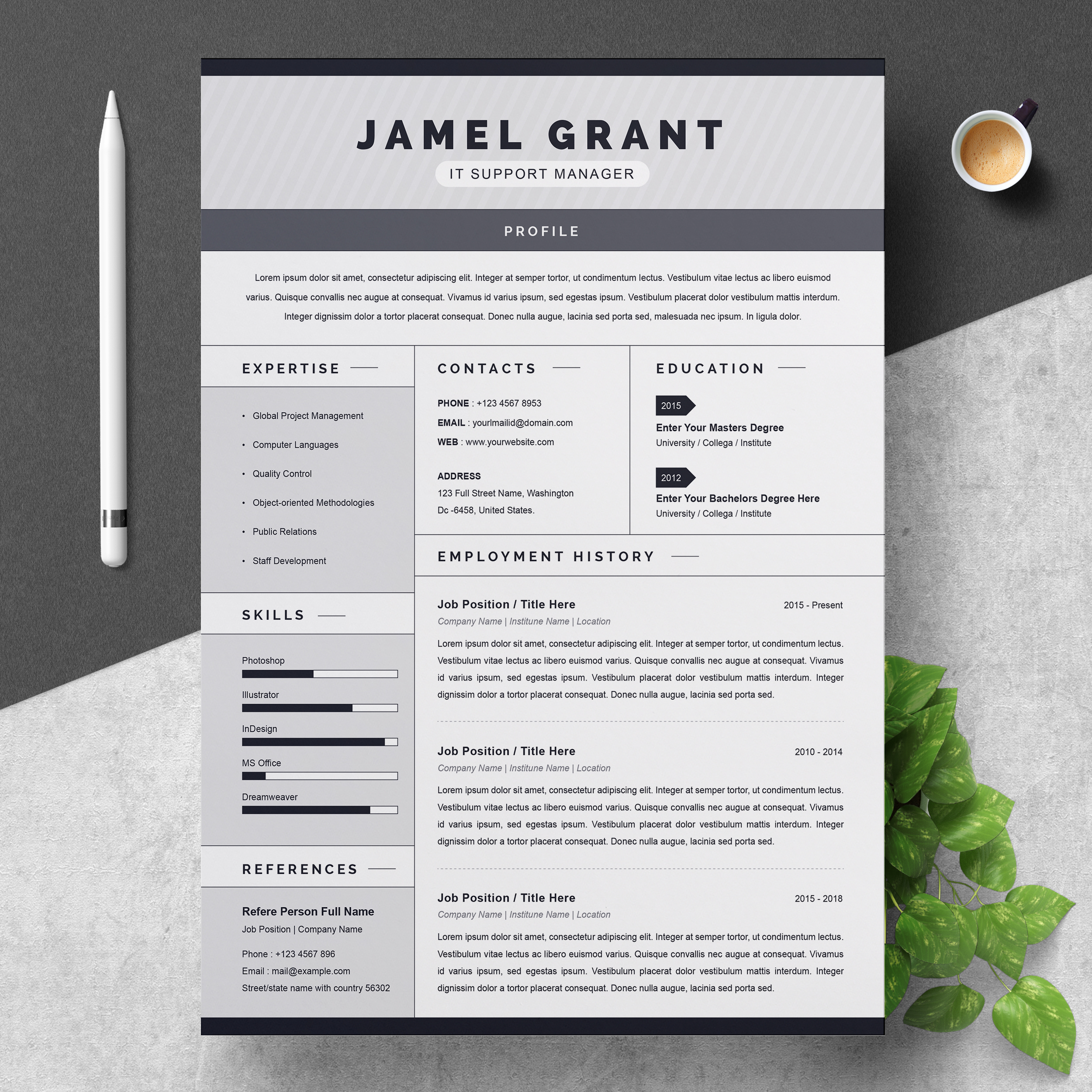 one creative resume template with cover letter resumeinventor free clean professional and Resume One Page Resume Template Free