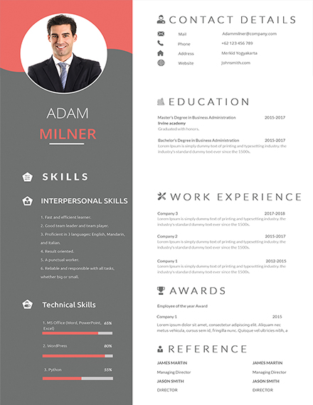 one resume examples in ms word indesign apple publisher template bpo career cashier Resume One Page Resume Template