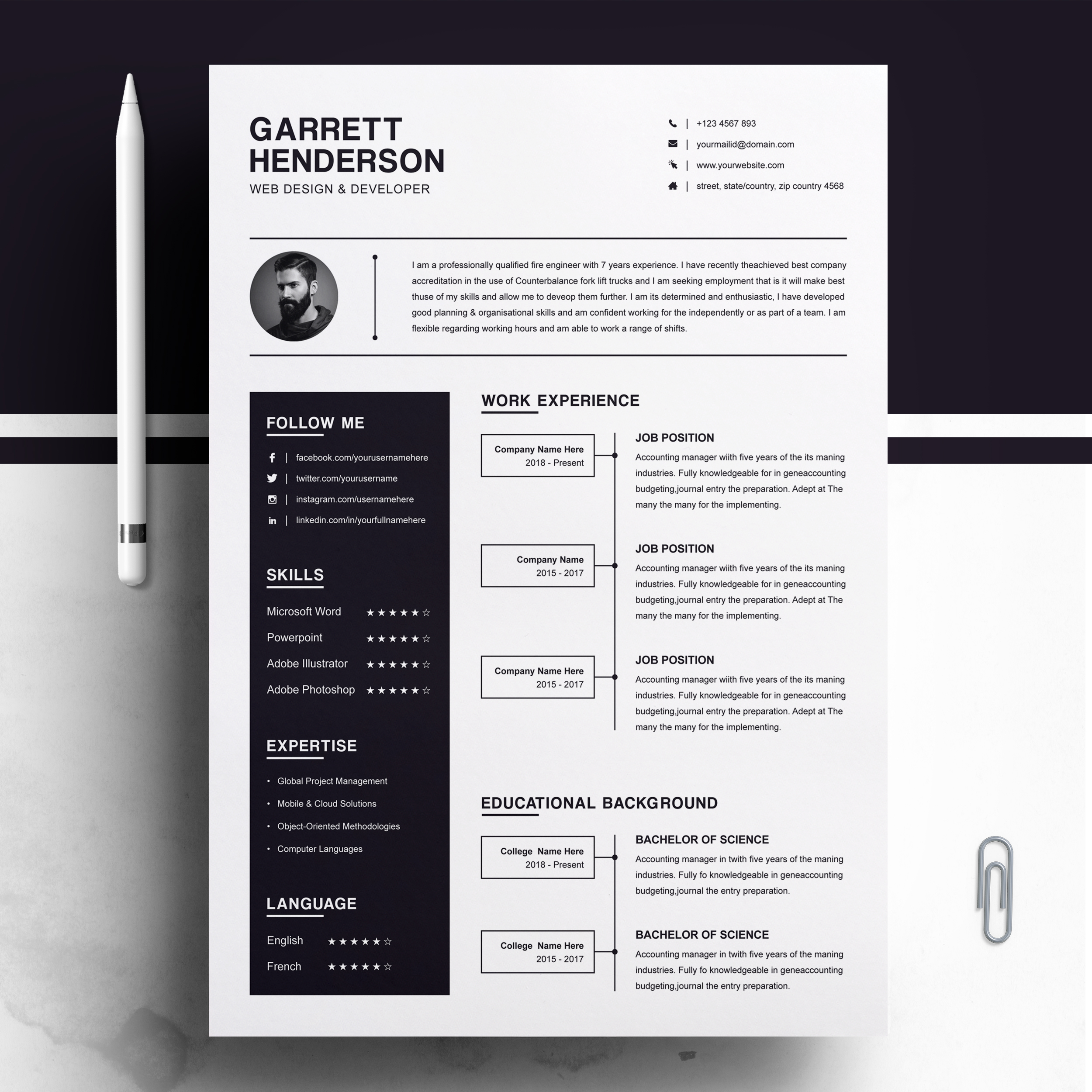 one resume template cover letter resumeinventor modern cv professional teacher main Resume One Page Resume Template