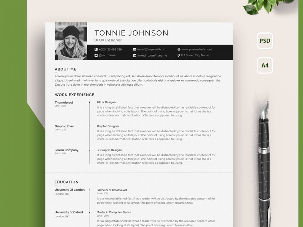 one resume template with photo free setresume portfolio 1000x750 microsoft skills Resume Resume Template With Picture Free Download