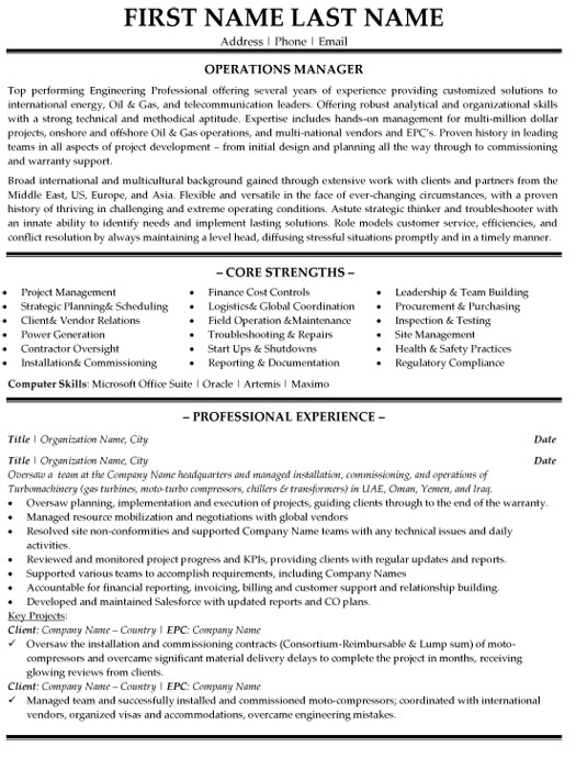 operation manager resume sample template building operations op printable blank form Resume Building Operations Manager Resume