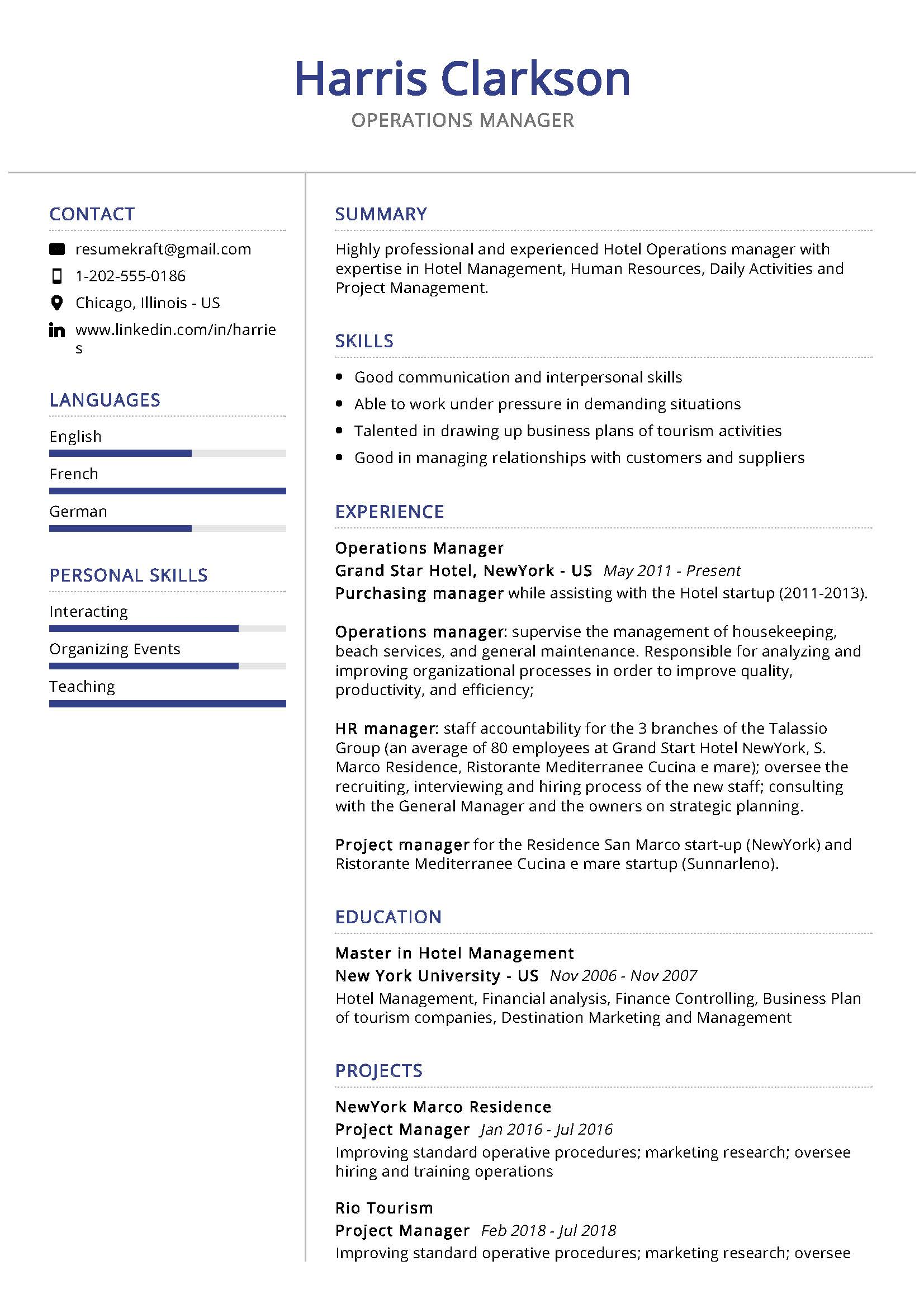 operations manager resume sample writing tips resumekraft examples recent graduate Resume Manager Resume Examples 2020