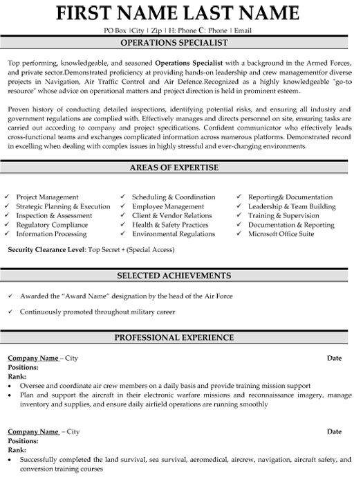 operations specialist resume sample template military folder staples free builder that Resume Operations Specialist Resume