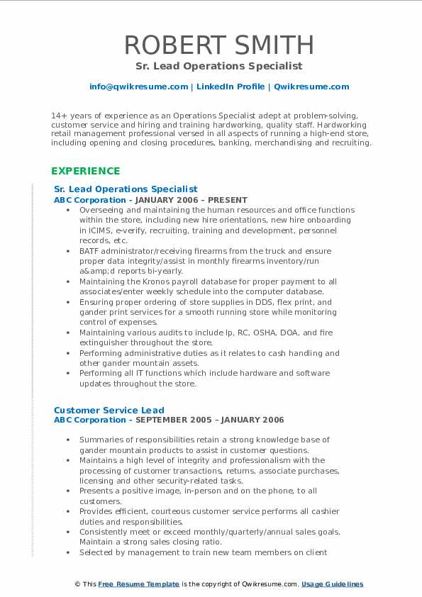 operations specialist resume samples qwikresume pdf freshman format skills for consulting Resume Operations Specialist Resume