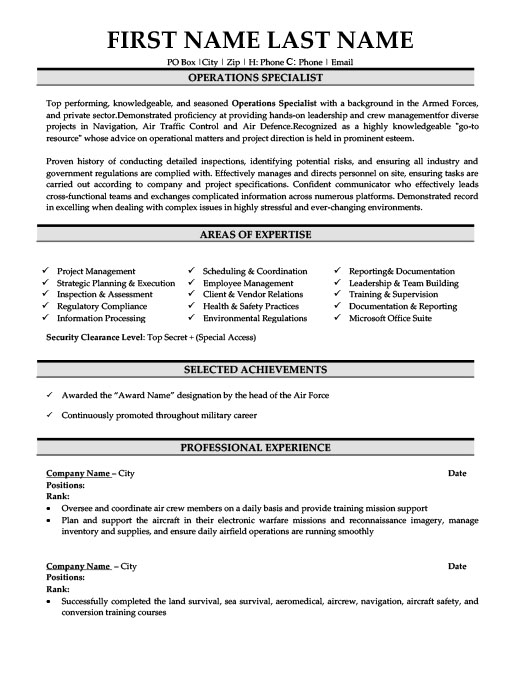 operations specialist resume template premium samples example skills for consulting Resume Operations Specialist Resume