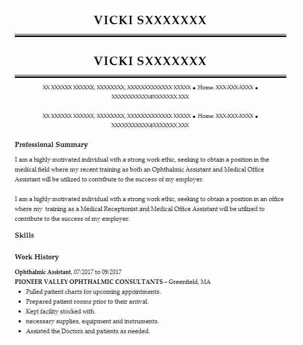 ophthalmic assistant resume example resumes misc livecareer optometric not graduated Resume Optometric Assistant Resume