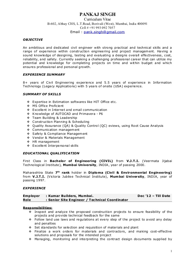 pankaj resume construction project manager objective examples orchids international Resume Construction Manager Resume Objective Examples