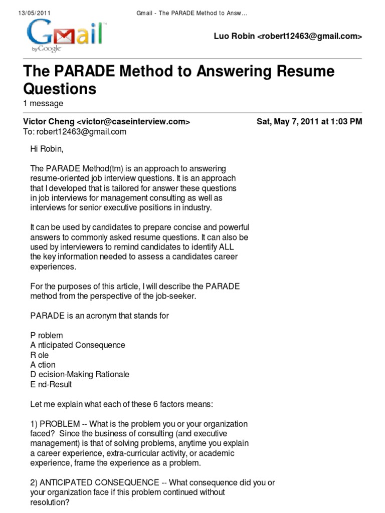 parade to answer resume questions decision making university of victor cheng consulting Resume Victor Cheng Consulting Resume Toolkit Download