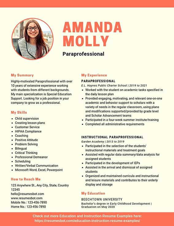 paraprofessional resume samples templates pdf resumes bot excellent examples example Resume Excellent Resume Examples 2020