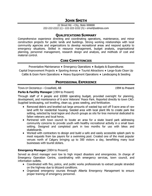 parks facility manager resume sample template operations professional responsibilities Resume Facility Operations Manager Resume Sample