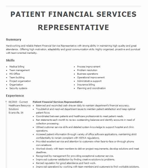 patient financial services representative resume example south communities hospital hills Resume Patient Financial Services Representative Resume