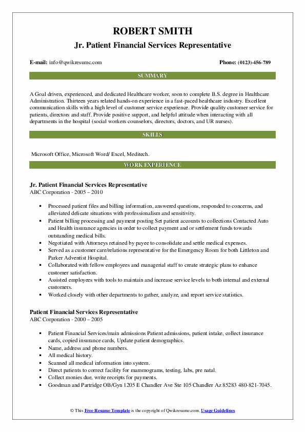 patient financial services representative resume samples qwikresume pdf format for Resume Patient Financial Services Representative Resume