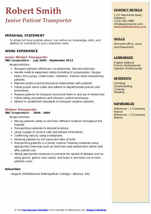 patient transporter resume samples qwikresume cover letter pdf summary examples for Resume Patient Transporter Resume Cover Letter