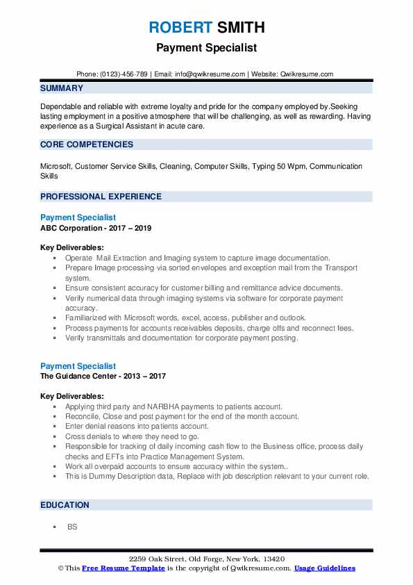 payment specialist resume samples qwikresume computer literate pdf objective for Resume Computer Literate Resume