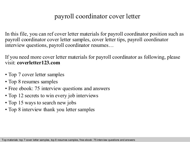 payroll coordinator cover letter job description resume good examples enterprise Resume Payroll Coordinator Job Description Resume