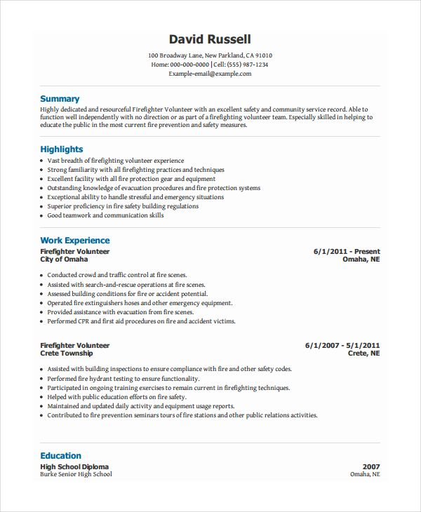 pdf free premium templates firefighter resume examples job types of volunteer work for Resume Types Of Volunteer Work For Resume